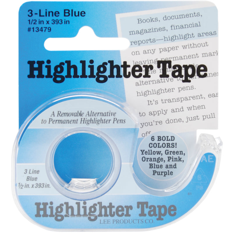 "Lee Products Highlighter Tape .5""X393""-Blue - Pens N More"