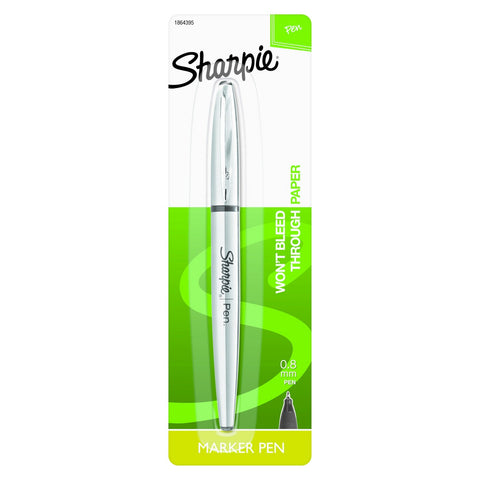 Sharpie Stainless Steel Grip Pen, 0.8mm, Fine Point, Black, 1 Count