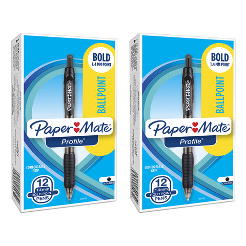 Paper Mate Profile Retractable Ball Point Pen, 1.4mm, Bold Point, Black Ink, 24-Count