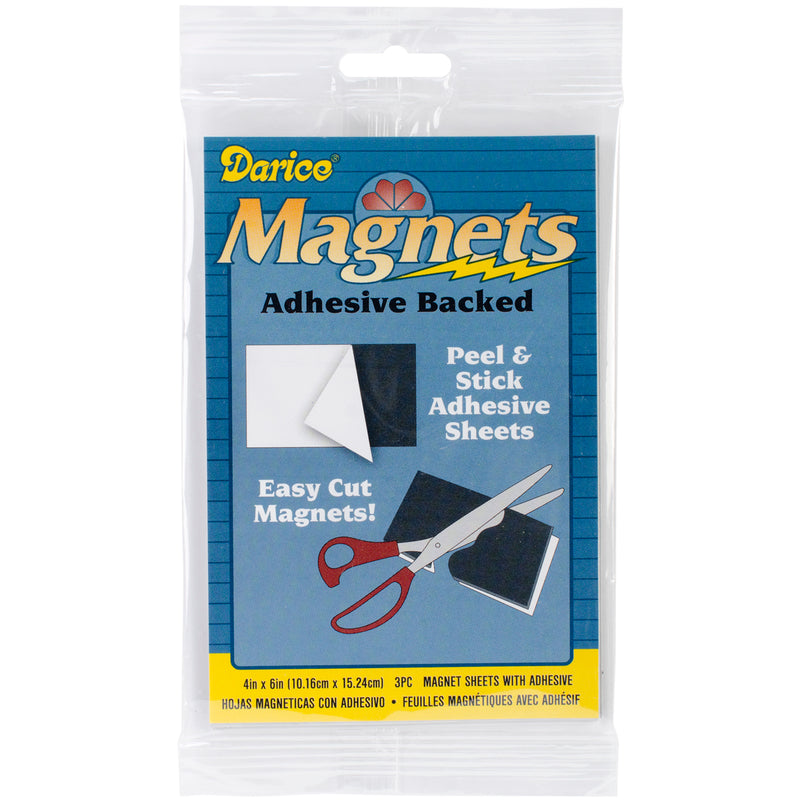 "Adhesive Magnetic Sheets 3/Pkg-4""X6"""
