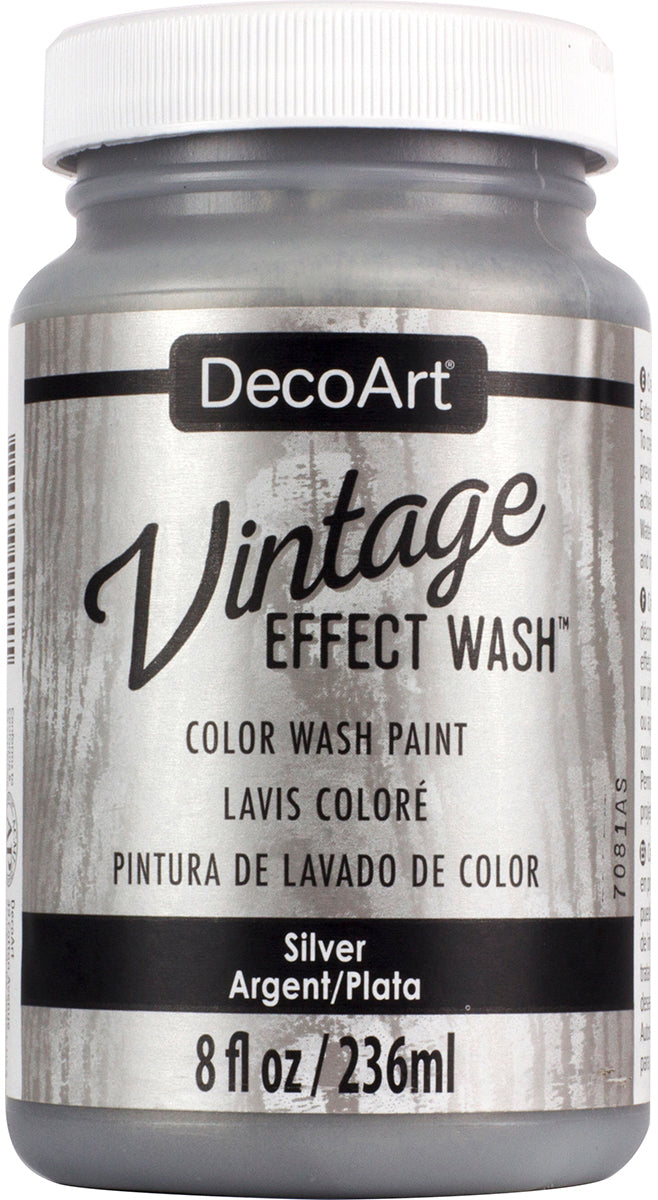 DecoArt Vintage Effect Wash Paint 8oz-Silver