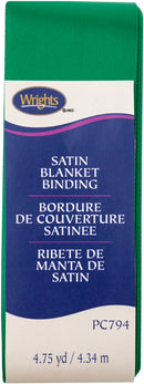 "Wrights Single Fold Satin Blanket Binding 2""X4.75yd-Emerald - Pens N More"