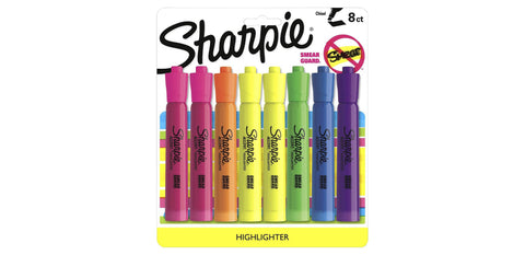 Sharpie Tank Style Highlighters, Chisel Tip, Assorted Colors, 8 Count