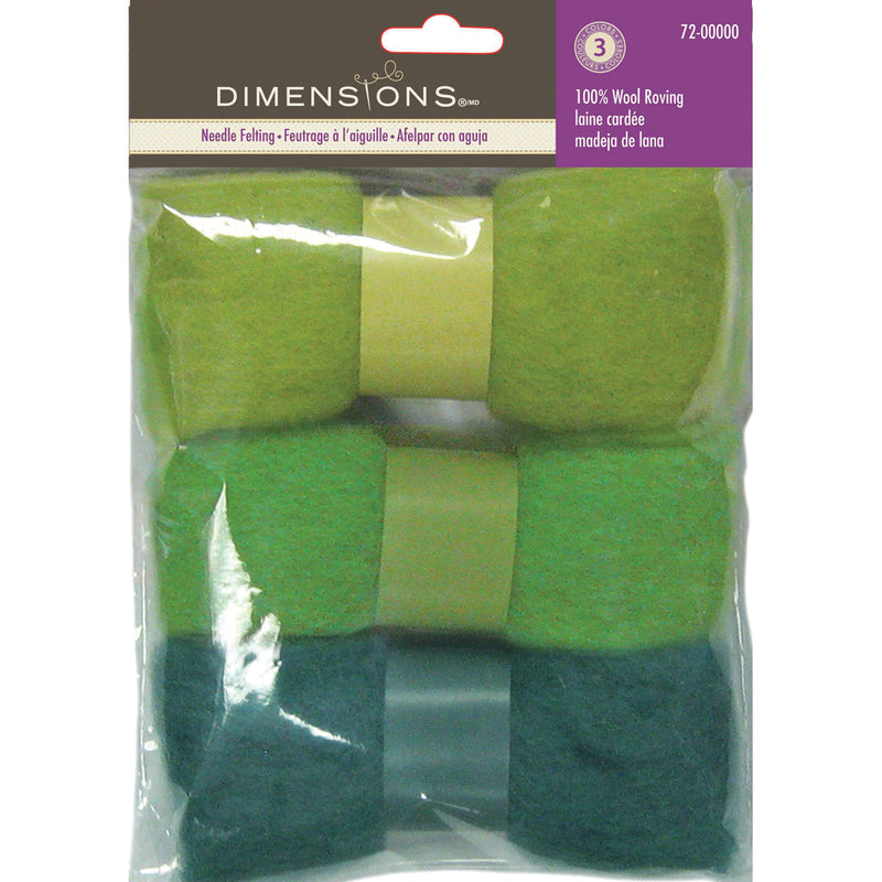 Dimensions Feltworks Roving Trio Pack 1.58oz-Blue Green - Pens N More