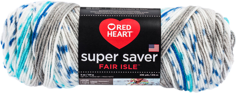 Red Heart Super Saver Fair Isle Yarn-Calm - Pens N More