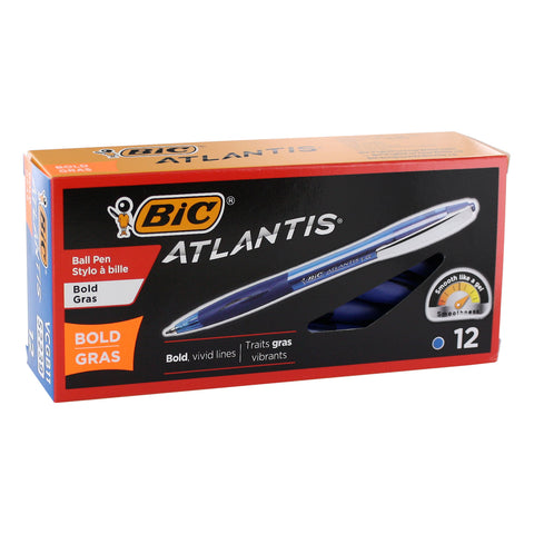 BIC Atlantis Retractable Ballpoint Pens, 1.6mm, Bold Point, Blue Ink, 12-Count