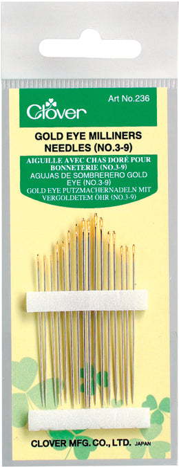 Clover Gold Eye Milliners Needles-Size 3/9 16/Pkg - Pens N More
