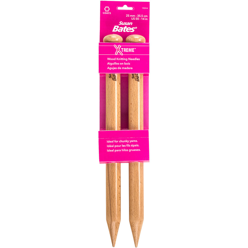 "Susan Bates X-Treme Wood Single Point Knitting Needles 14""-Size 50/25mm - Pens N More"