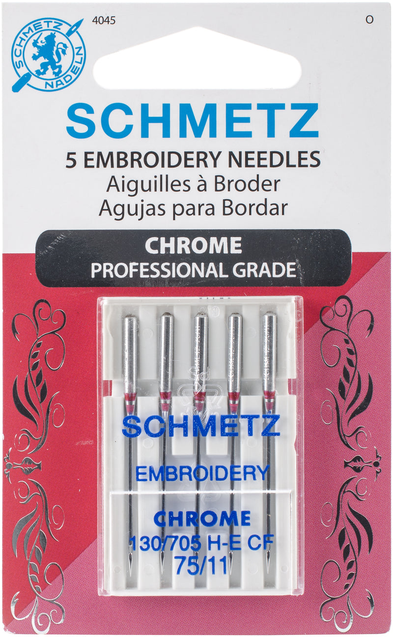 Schmetz Chrome Embroidery Machine Needles-Size 75/11 5/Pkg - Pens N More