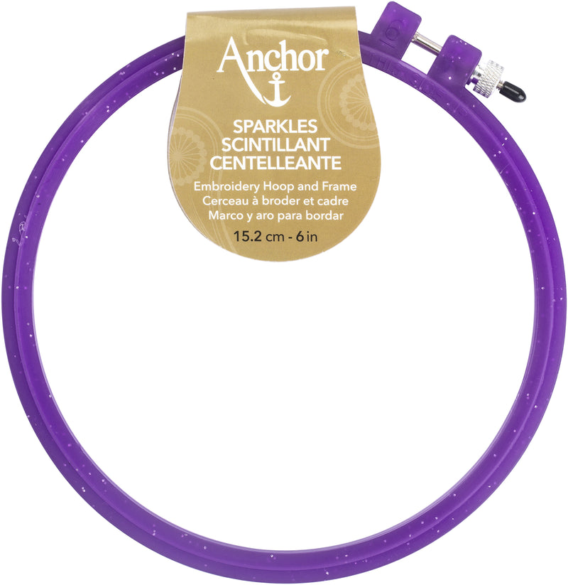 "Anchor Sparkle Plastic Embroidery Hoop Assorted Colors-6"" Diameter Blue, Purple Or Yellow - Pens N More"