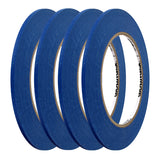 "Grainger Paper Painters Masking Tape, Rubber Tape Adhesive, 5.60 mil Thick, 1/8"" X 60 yd., Blue, 4 Rolls"