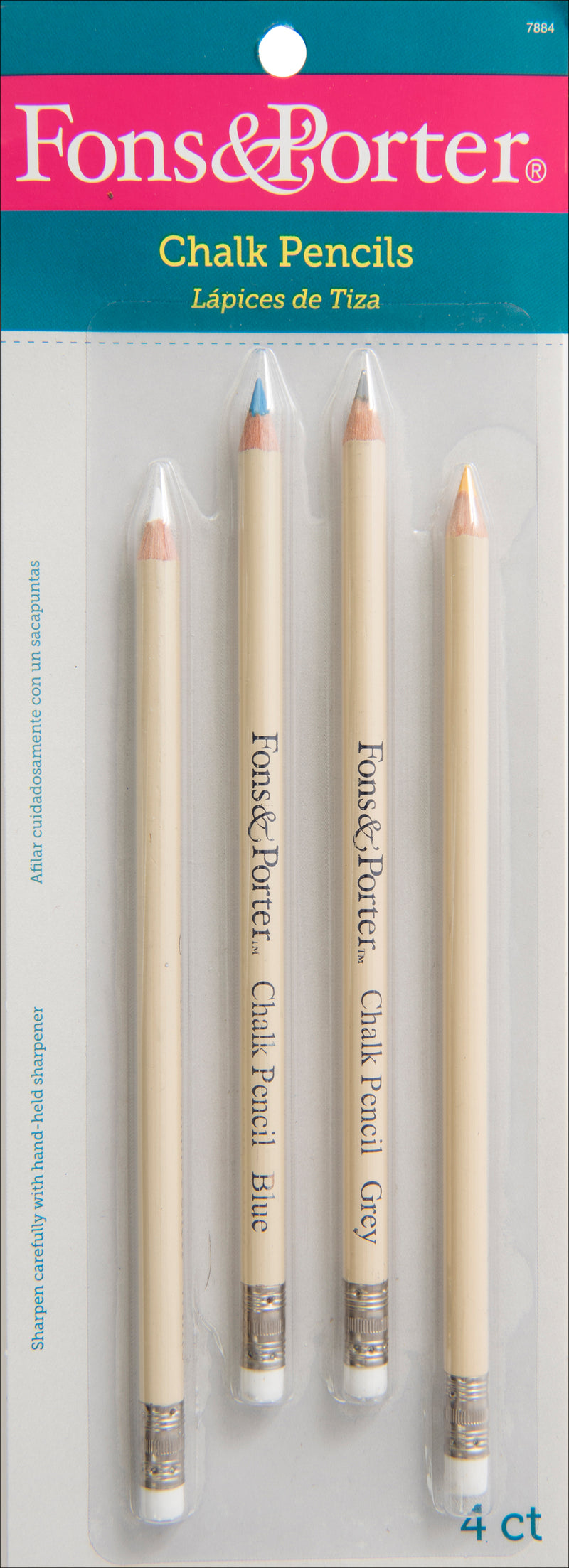 Fons & Porter Chalk Pencils 4/Pkg-White, Blue, Gray & Yellow