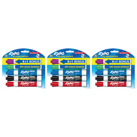 Expo Low Odor Dry Erase Markers, Chisel Tip, Assorted Colors, 15-Count