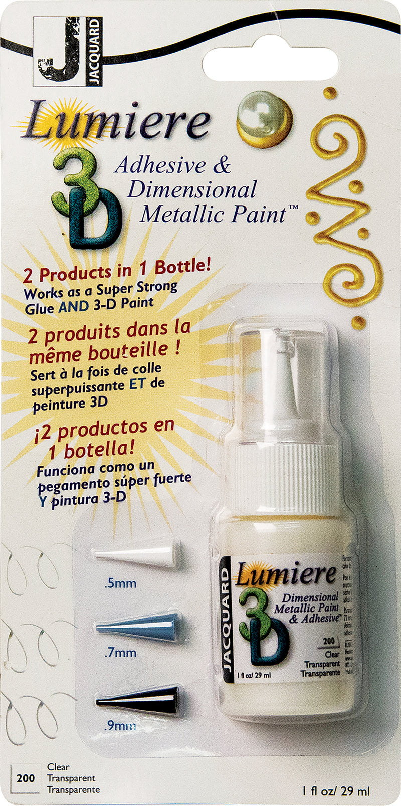 Jacquard Lumiere 3D Metallic Paint & Adhesive Blister Pk 1oz-Clear W/3 Plastic Tips