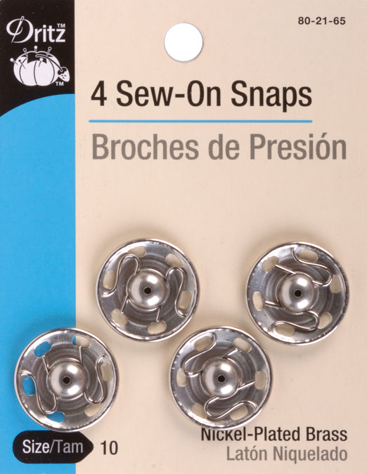 Dritz Sew-On Snaps 4/Pkg-Nickel-Plated Brass Size 10