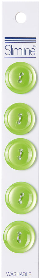 "Slimline Buttons Series 1-Lime 2-Hole 3/4"" 5/Pkg"