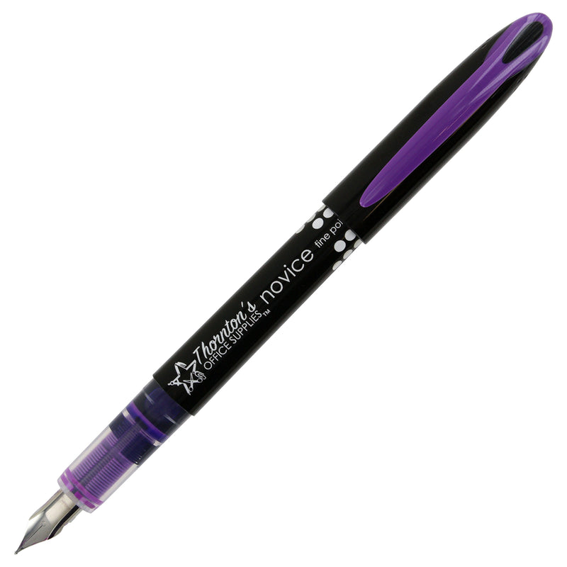 Thornton's Office Supplies Disposable Fountain Pens, Fine Point, Purple Ink, Pack of 12 - Pens N More
