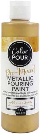 American Crafts Color Pour Pre-Mixed Metallic Paint 8oz-Gold