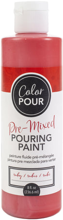 American Crafts Color Pour Pre-Mixed Paint 8oz-Ruby
