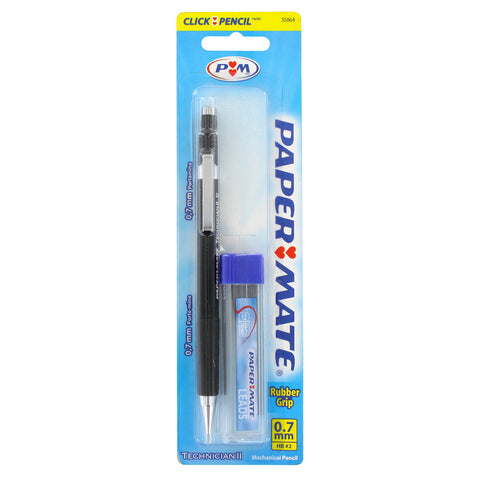 Paper Mate Technician II Mechanical Pencil, 0.7mm, Black Barrel, Start Kit