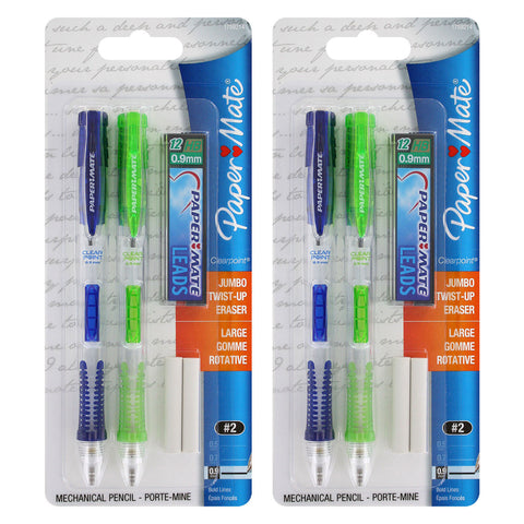 Paper Mate Clear Point Mechanical Pencil Starter Set, 0.9 mm, Lime Green, Royal Blue, Set of 4