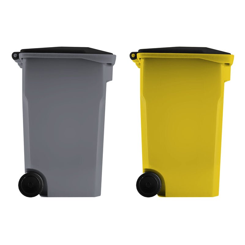 Thornton's Office Supplies Mini Curbside Trash and Recycle Can Set Pencil Cup Holder - Yellow/Gray