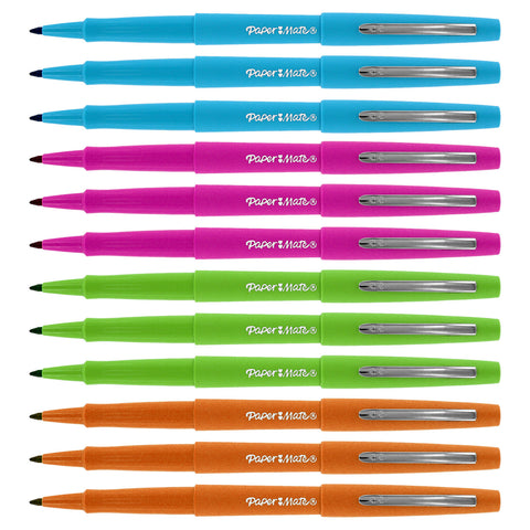 Paper Mate Flair Porous Point Stick Pens, Medium Point, Assorted Fashion Colors, 12-Count