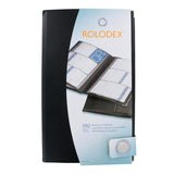 Rolodex Vinyl 192-Card Business Card Book, 6 2 1/4 x 4 Cards/Page, 32 Pages, Black/Silver