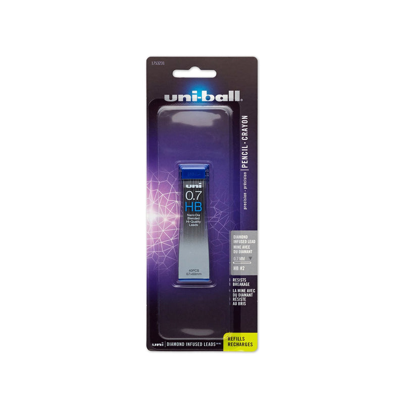 Uni-Ball Diamond Infused Mechanical Pencil Lead Refills, HB, 0.7 mm, Pack of 40