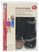 Dritz Iron-On Patches 20/Pkg-Dark Assortment
