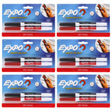 Expo Low Odor Dry Erase Markers, Fine Point, Black and Red, Pack of 12 with Magnetic Clip Erasers