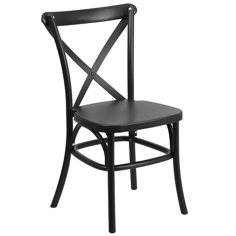 Flash Furniture Hercules Series Resin Indoor-Outdoor Cross Back Chair with Steel Inner Leg - Black