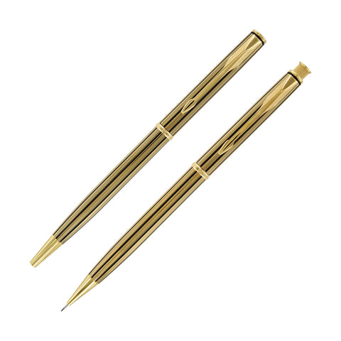 Parker Insignia 23K Athens Gold Plated Ball Point Pen and Mechanical Pencil Set