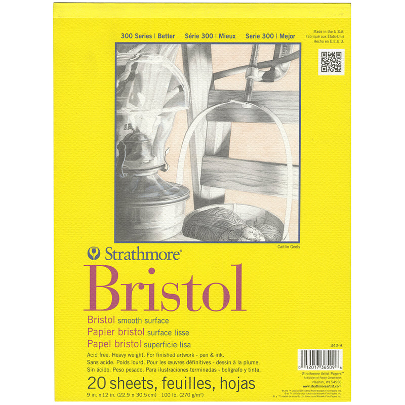 "Strathmore Bristol Smooth Paper Pad 9""X12""-20 Sheets - Pens N More"