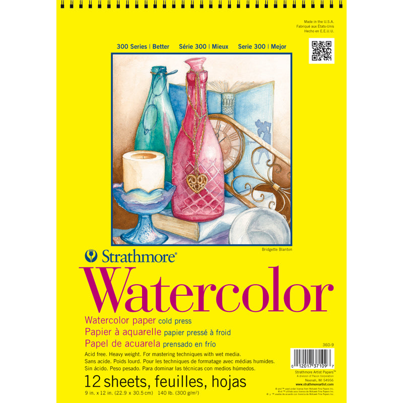 "Strathmore Watercolor Spiral Paper Pad 9""X12""-12 Sheets"