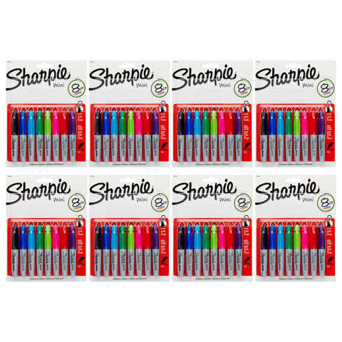 Sharpie Mini Permanent Markers, Fine Point, Assorted Colors, 64-Count