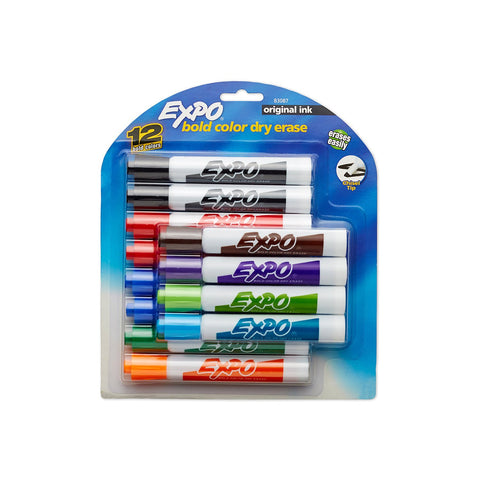 Expo Original Dry Erase Whiteboard Markers, Chisel Tip Assorted Colors, 12-Count