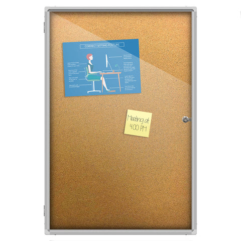 Thornton's Office Supplies Aluminum Frame Wall Mount Enclosed Cork Bulletin Board, 36 x 24
