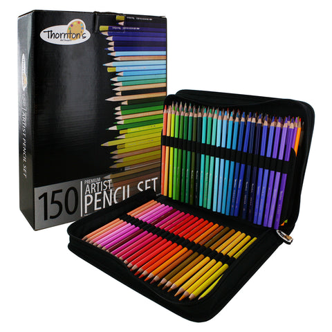 Thornton's Art Supply 150 Piece Colored Pencil Artist Drawing Set with Zippered Case