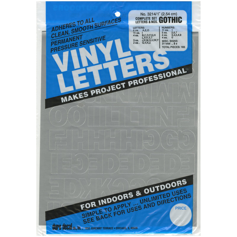 "Permanent Adhesive Vinyl Letters & Numbers 1"" 183/Pkg-Silver"