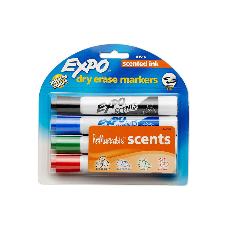 Expo Scents Dry Erase Whiteboard Markers, Chisel Tip, Assorted Colors, Pack of 4