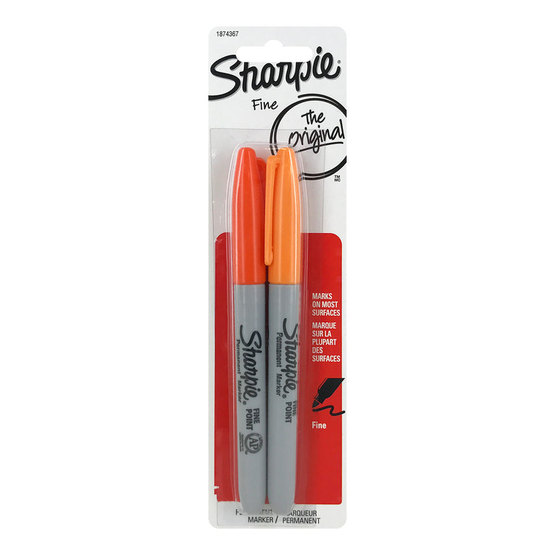 Sharpie Permanent Markers, Fine Point, Orange and Tangerine, Pack of 2