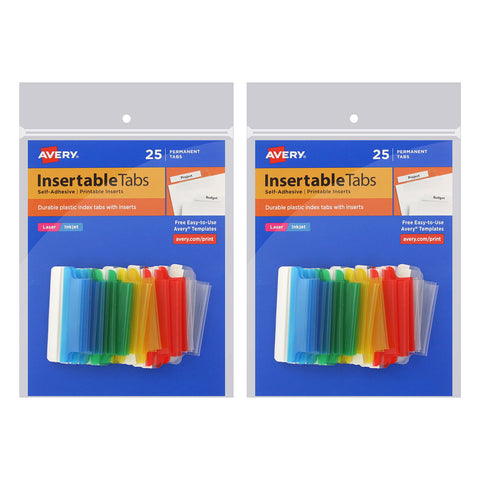 image regarding Printable Index Tabs named Avery Insertable Index Tabs with Printable Inserts, 1 1/2 Inch, Varied with White, 50-Rely