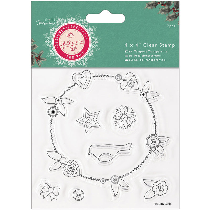 "Papermania Bellissima Christmas Clear Stamps 4""X4""- - Pens N More"