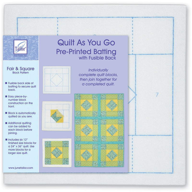 June Tailor Quilt As You Go Printed Quilt Blocks On Batting-Fair & Square