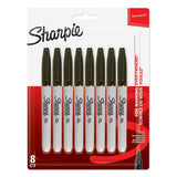 Sharpie Permanent Markers, Fine Point, Black Ink, 8-Count