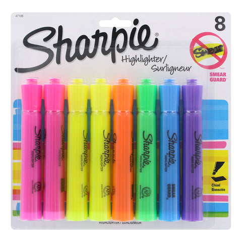 Sharpie Tank Style Highlighter, Chisel Tip, Assorted Colors, 8-Count