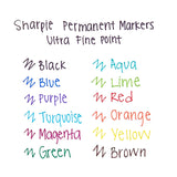 Sharpie Permanent Markers, Ultra Fine Point, Blue Ink, Pack of 12