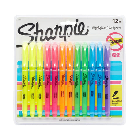 Sharpie Pocket Highlighters, Chisel Tip, Assorted Colors, 12-Count