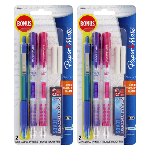 Paper Mate Clear Point 0.7mm Mechanical Pencil Starter Set, Assorted Colors, Set of 2